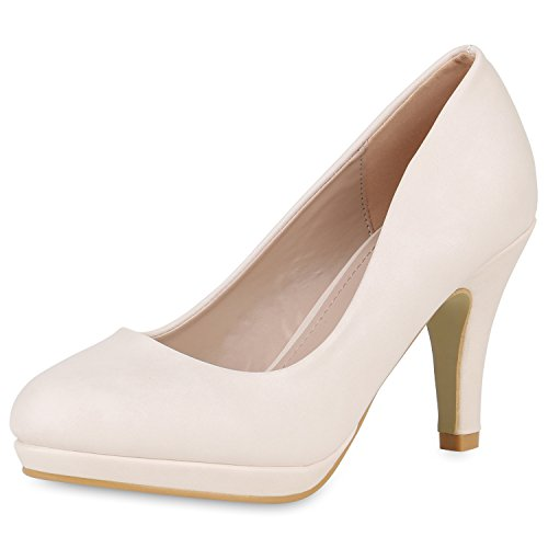 SCARPE VITA Klassische Damen Pumps Stiletto High Heels Elegante Party Schuhe 162410 Creme 40
