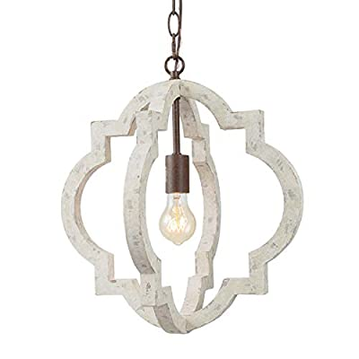 """LALUZ Farmhouse Chandeliers for Dining Rooms, Wood Globe Pendant Lighting for Kitchen Island, Foyer, D16""""xH17.5"""""""