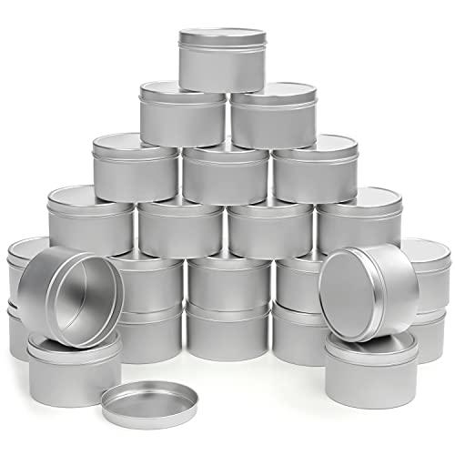 BELLE VOUS Scatoline di Latta per Candele in Alluminio con Coperchi (Confezione da 24) - Barattoli Latta Rotondi Riutilizzabili da 240 ml - per Candele Fai-da-Te, Artigianato, Viaggi/Campeggio, Feste