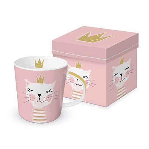 CasaJame Cocina Cubertería Vajilla Taza Grande Café Americano Té de Hierbas Motivo Gato Princesa Rosa