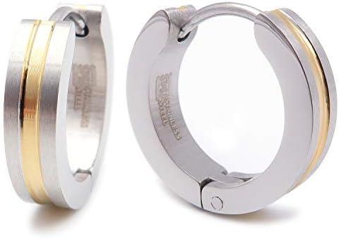 Pair Stainless Steel 2 Tone Stripe Men Hoop Earrings Brush Silver Gold 16mm product image