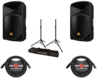 Behringer 2 Pack EUROLIVE B112MP3 Active PA Speaker with Built-in MP3 Player - Bundle With 2 Pack 15' 8mm XLR Microphone Cable, Ultimate JamStands JS-TS50 Tripod-Style Speaker Stand Pair