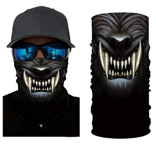 Dasongff Multifunktionstuch Herren Damen Schlauchtuch Tiermotiv, 3D Motorrad Halstuch Kopftuch Radfahren Stirnband Winddicht Kopf Wrap Warm Neck Gaiter Bandana, 10 Tragevarianten