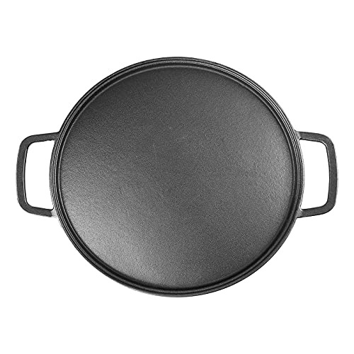 Hisencn 14' Pre-seasoned Cast Iron Pizza and Baking Pan With Loop Handles Stove, Oven, Grill, Campfire and Versatile Kitchen Cookware