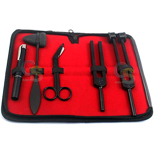 "G.S Limited Edition - Full Tactical Black - Grudge Style Set of 5 PCS Reflex Percussion Taylor Hammer + PENLIGHT + Tuning Fork C 128 C 512 + Bandage Scissors 5.5"" Best Quality"
