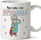 KJKL Taza de la Abuela - AKI Babe UNA Super Abuela - La Mejor Taza de Desayuno del Mundo -...