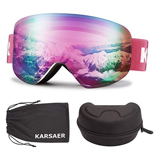 Karsaer Ski Goggles Snowboard Snow Goggles OTG Magnet Dual Layers Lens Anti-Fog UV Protection Women Men