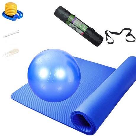 qq666 Ampliamento Kit Spessa Antiscivolo Yoga Mat insapore Ambientale i Bambini Danza esteso Tappetino Fitness stuoia strisciante Famiglia all'aperto Mat-Pedale Tappetino Yoga + + Quattro Palle-Blu