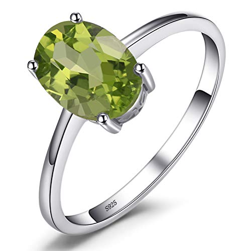 JewelryPalace Ovale 1.4ct Naturale Verde Peridot Birthstone Solitario Anello Genuino 925 Sterling Argento 11.5