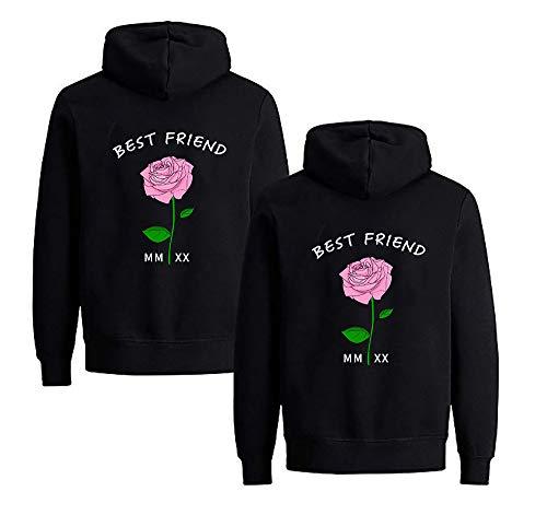 Beste Freunde Pullover für Zwei Mädchen Best Friends Hoodie BFF Pullover Sister Kapuzenpullover Damen Pulli Geburtstagsgeschenk 1 Stück (S,Schwarz-Pink Rose)