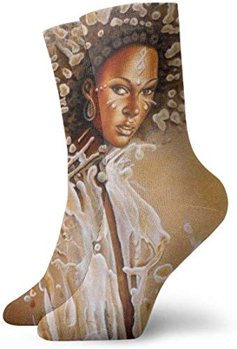 Yuanmeiju Unisex Adult Novelty Funny Crazy Crew Sock Black Art African Women 3D Printed Winter Thick Sport Athletic Socks Personalized Gift Socks