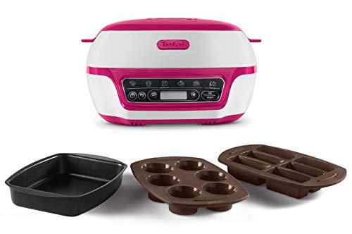 Tefal Cake Factory KD8018 Smart taartbakautomaat/mini-oven (1200 W, ideaal voor muffins, chocolade-lava-taart, cupcakes, mueslibak, biscuit taart, incl. receptenboek) wit/lila