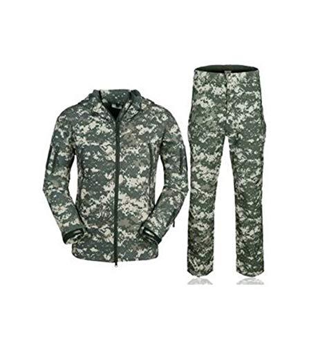 Chasse Camouflage Requin Peau Douce Shell Outdoor Men Tactique Militaire Polaires Veste et Pantalon Uniforme Costumes ACU M