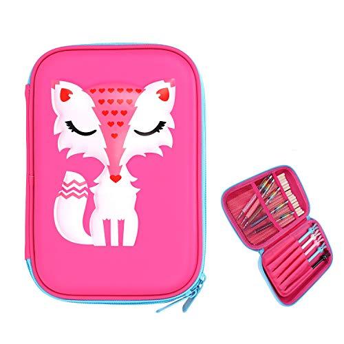 Schattige Fox Hardtop Potlood Case voor Meisjes Roze Cartoon EVA Rits Pen Case Grote Capaciteit Opslag Pen Bag Pouch Box met Binnenzak voor Studenten Artiest Roos