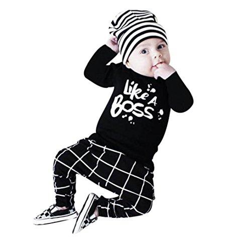 QinMM Baby Junge Kleidung Outfit, Beschriftung gedruckt Lange Ärmel T-Shirt Tops + Hosen Set (6-12M, Schwarz)