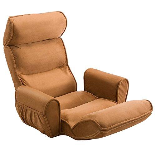 イーサプライ 肘掛け付き ふんわり ハイバック 座椅子 サイドポケット付き 低反発ウレタン リクライニング ライトブラウン EZ15-SNC103BR