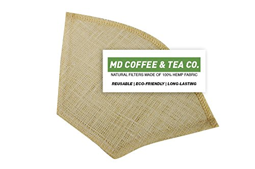 Hemp Coffee Filter #4, Reusable Coffee Filter, Saves Money, Taste Better & Reduces Waste – All Natural Organic Coffee Filters, Pour Over Coffee Filter, Unbleached Dripper Filter