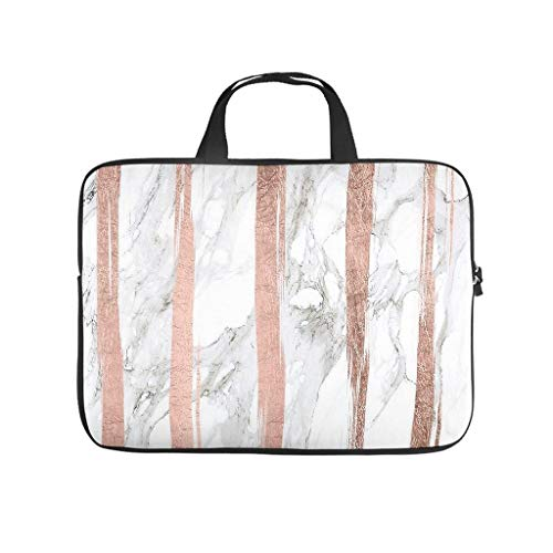 Rose Gold White Marble Laptop Bag Waterproof Laptop Carry Bag Funny Notebook Bag for University Work Business