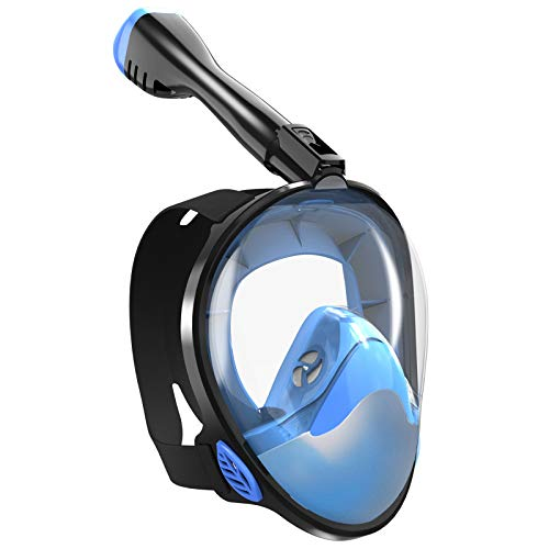 Masque de plongée avec Tuba, Masque Complet, Masque de plongée, Vue sur la mer à 180 °, avec Support Amovible pour Appareil Photo, Dessus Sec - Anti-buée, Anti-Fuite