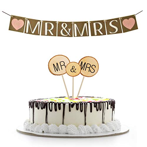 TUWUNA Wedding Decorations 3 Pcs Mr&Mrs Cake Toppers Natural Wood Cake Decoration Chic Rustic Wedding and 1 Pcs MR and MRS Wedding Banner for Couple Sweetheart Party Anniversary Birthday