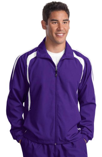 Sport-Tek Colorblock Full-Zip Jacket, 4XL, Purple/White - http://coolthings.us