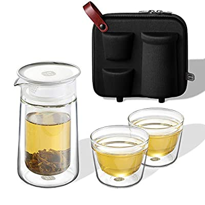 ZENS Travel Tea Set,Glass Portable Teapot Infuser Set for Loose Tea,160ml Double Wall Tea Pot and 2 Teacup with Eva Case for Travel Picnic or Gift,Black - Father's Day Gift