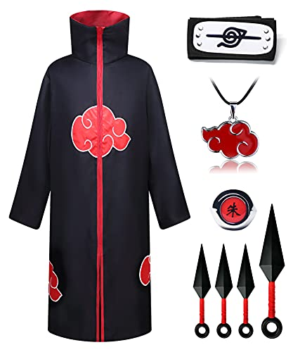 O.AMBW Set Disfraz Kakashi Capa de Akatsuki Itachi Bata Akatsuki Cosplay Caruto con Naruto Accesorios,Collar,Anillo Itachi,Banda de Naruto 3 * Hoja Voladora para Unisex Adulto Niños