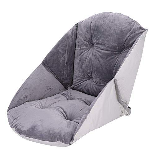 ITODA - Cuscino a forma di conchiglia per sedia, in morbido peluche, con schienale e supporto per sedia, spesso, confortevole, per ufficio, casa, giardino, auto, poltrona, regalo grigio