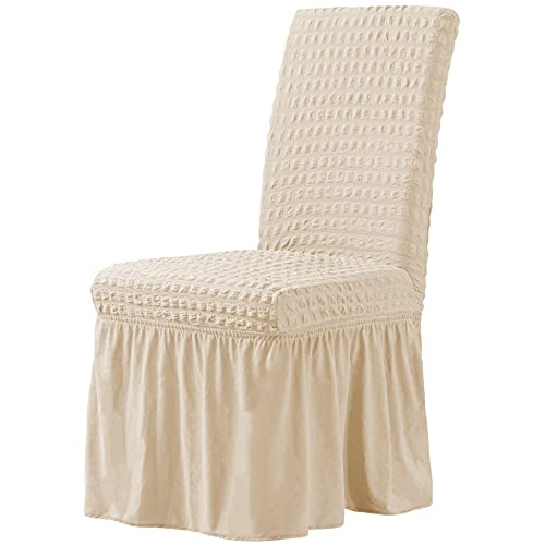 CHUN YI Stretchy Universal Easy Fitted Dining Chair Cover Slipcovers with Skirt, Removable Washable Furniture Chair for Kids Pets Home Ceremony Banquet Wedding Party(2Pcs,Light Khaki)