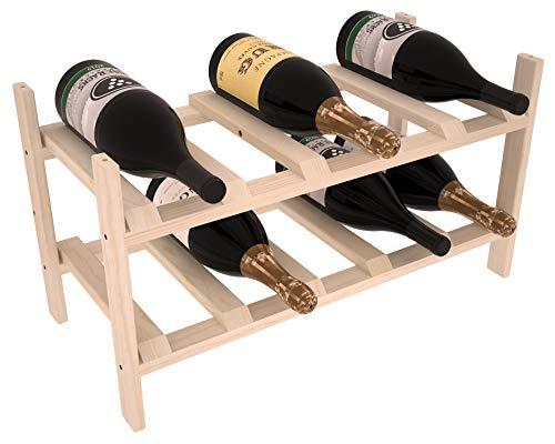 Wine Racks America Ponderosa Pine 10 Bottle Magnum Stackable Unstained