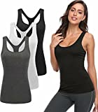 TELALEO Tank Tops for Women, Workout Athletic Racerback Tank Tops for Basic Activewear, Sleeveless Dry Fit Shirts 3 Pack Black Gray White M