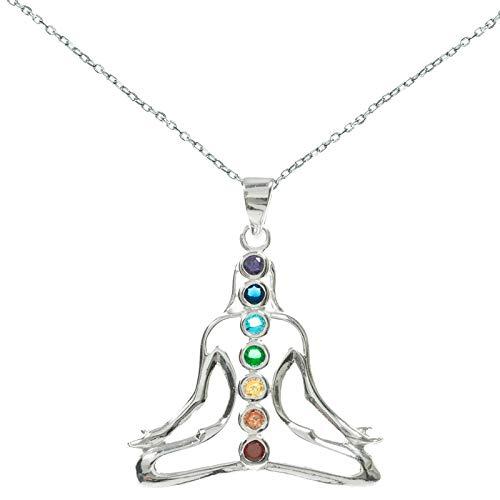 Colgante Yoga 7 chakras Plata de Ley - Colgante amuleto meditación