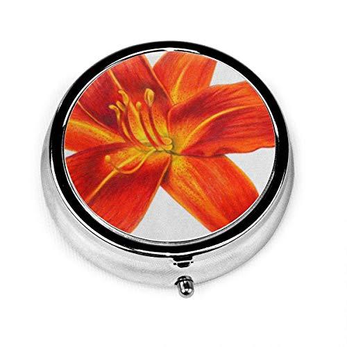 Runde Pillenetui mit 3-fach Travel Pills Box Rot Realistische Taglilie Blume Orange Zeichnung Hemerocallis Schöne Bigflower