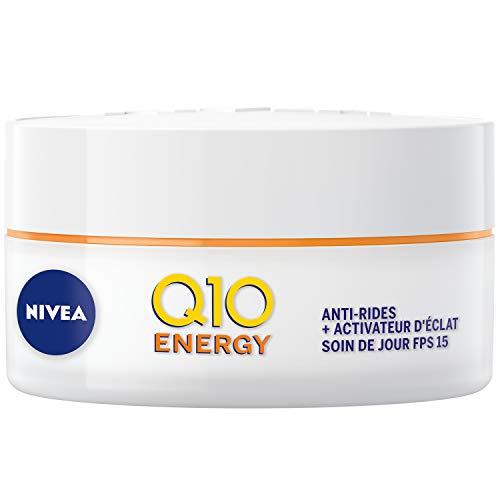 NIVEA Q10 Plus C Soin De Jour Défatigant Anti-rides +Énergie FPS 15 (1x 50 ml), crème anti-âge enrichie en Q10 & Vitamine C, crème hydratante, soin visage femme