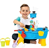 ToyVelt Sand Water Table for Toddlers - 21-Piece Water Play Table for Kids Outdoor and Indoor with Accessories and Tools- Learning Sandbox Water Play Table for Boys and Girls Age 2-10 Years Old