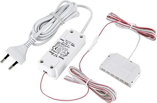 Transformateur LED Mini AMP 12 V - 7 W - Avec fiche Euro + répartiteur 6 prises (mini-AMP) - 3 câbles de 2 m - Blanc