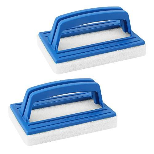 Yangfei 2 Stück Pool Schwamm Bürsten, Poolreinigung Handschrubbe Schwimmbad Bürste mit Griff Teich Bürste Reinigungszubehör Geeignet zum Reinigen von Schmutz und Moos(Blau)