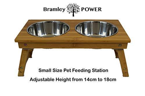 Bramley Power Erhöhte Bambus-Futterstation für Hunde, höhenverstellbar (Klein)
