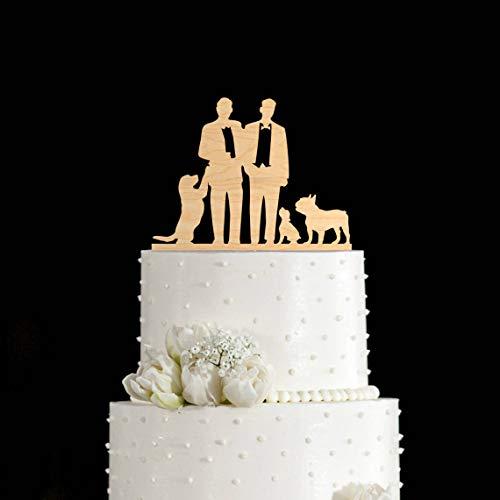 DKISEE Decoración para tartas gay | Decoración de boda gay | Decoración para tartas de boda gay Bulldog francés gay | Decoración para tarta de boda para perro con perro mr y mr