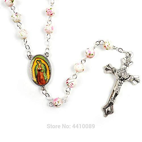DAGE&NN Rosario Católico, Cuentas Redondas Pequeñas De Cristal Azul, Collar De La Virgen María Jesús Mujer @ Guadalupe_Rosary