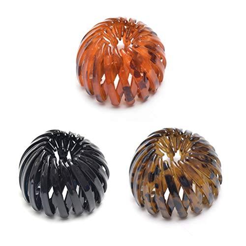 BSTQC Horquillas para coletas de caballo con forma de nido de pájaro, 3 piezas, estilo vintage geométrico, para mujeres y niñas
