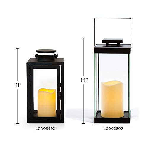 11 Height Warm White LEDs Set of 2 11 Height LC003492 Glass Paneled Outdoor Flameless Black Candle Lanterns Remote /& Batteries Included