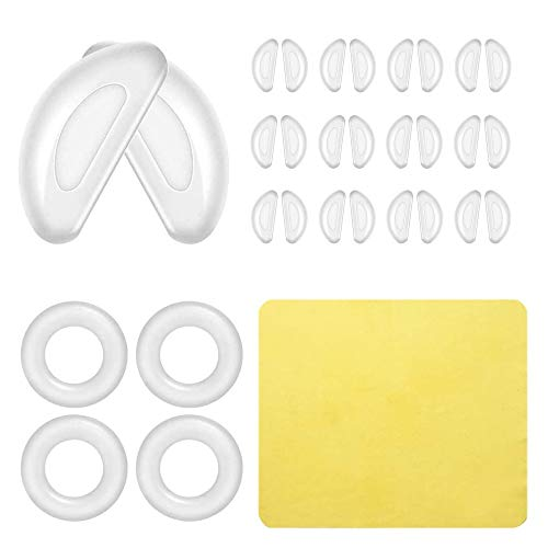 Clear Nose Pads for Eyeglasses Plastic Frames Low Bridge Stick On Non Slip Soft Silicone Self Adhesive Anti-Slip Nose Pads for Sunglasses Glasses