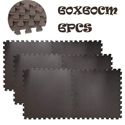 Dicn Electronic - Alfombrillas de ejercicio para gimnasio en casa, gimnasio, forma de rompecabezas entrelazada de goma EVA, antideslizante, 60 x 60 cm, color marrón, 6 unidades