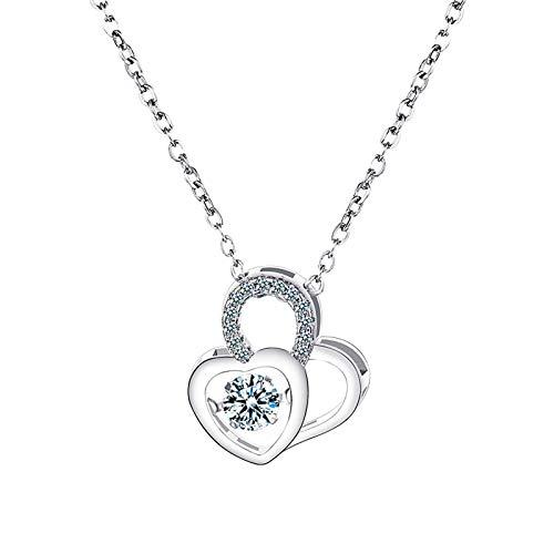 Herzförmige Zirkonhalskette Schlüsselbeinkette, die Herzkristallpulloverkette schlägt Halskette Geschenke für Frauen Bestes Geburtstagsgeschenk Geschenk für Mama Schwester Mädchen Freunde