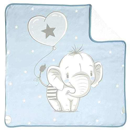 Arrullo para bebé estampado rizo (80 x 80 cm) ELEFANTINO AZUL ⭐