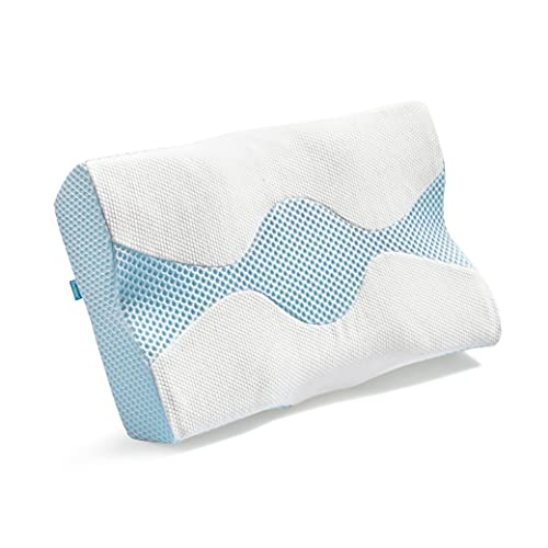 Bedsure Ergonomic Memory Foam Pillow - Cervical Pillow Covered with Bamboo & Polyester for Neck Pain, Firm & Soft Orthopedic Pillow for Side Sleepers, Back and Stomach Sleepers (24x15.7x4.9 inches)