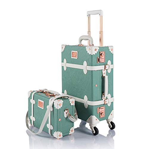"COTRUNKAGE Vintage Trunk Luggage Set TSA Lock Carry On Suitcase for Women (13"" & 20"", Embossed Mint)"