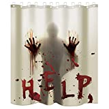 Sunshane 71 x 71 Inch Halloween Shower Curtain Liner Bathroom Curtain Liner, Help with Bloody Hands Shower Curtains with 12 Hooks for Halloween Decorations