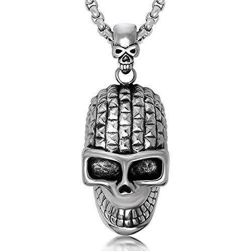 Halskette Männlicher Schädel Persönlichkeit Niet Element Lächelnder Schädel Punk Halskette Silver2